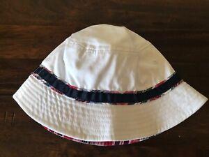 New Children's Place Baby Bucket Sun Hat 12-24 Months White/Blue/Red