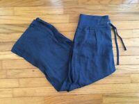 ATHLETA Women's 4 Blue Linen Wide Leg Stretch Waist Loose Comfort Casual Pants
