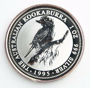 1995 Australian Kookaburra 1 oz. 999 Silver BU Coin Queen Elizabeth II KM-260