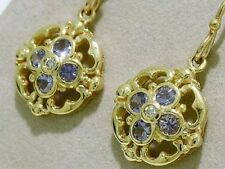 E024 SOLID 9ct Gold NATURAL Tanzanite & Diamond DROP Earrings Victorian style