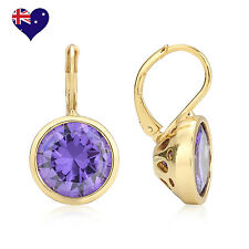 Bella 18ct Gold Amethyst Zirconia Drop/Dangle Earrings Wedding-Gift-Jewellery