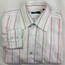 Hugo Boss grande (40-15.3/4) Blanco/Rosa/azul a rayas de camisa de mangas largas para hombres Genuino