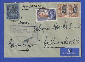 Gambia 1935 Lp-Brief über AIR MAIL GAMBIA-ENGLAND gel. nach Delmenhorst