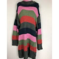 Solutions Cowl Neck Colorblock Sweater Dress L
