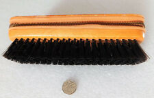 Vintage wooden travel brush Leather zip compartment for shaving and grooming kit