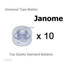 UNIVERSAL PLASTIC BOBBINS X 10 IN PACKET COMPATIBLE WITH JANOME SEWING MACHINES