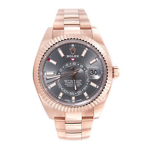 Rolex Sky-Dweller Dark Rhodium Rose Gold Automatic Mens Watch 326935