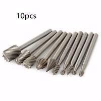 10Pc 3mm Shank Tungsten Steel Solid Carbide Burrs Kit For Rotary Tool Drill Bits