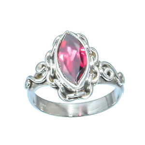 RED GARNET NATURAL GEMSTONE 925 SOLID STERLING SILVER JEWELRY RING 7
