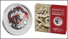 2012: Year of the Dragon •  Coloured 1 Oz Black Dragon • Berlin World Money Fair