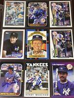 New York Yankees auto autograph baseball card LOT Tommy John Bobby Meacham +more
