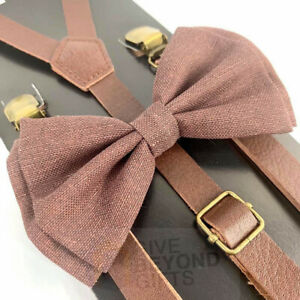 Suspender and Bow Tie Adults Skinny Brown Leather Brown Canvas Formal Wear Combo
