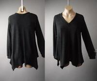 Black Asymmetric Handkerchief Fairy Goth V-Neck Pullover 292 mv Sweater 1X 2X 3X