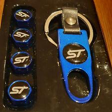ST WHITE TOP BLUE DUST VALVE CAPS & SPANNER  ST-1 ST-2 KUGA FIESTA FOCUS ST-1