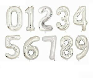 """32"""" SILVER HELIUM AGE NUMBER HAPPY BIRTHDAY BALLOONS PARTY DECOR SELF INFLATING"""