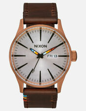 Nixon Men's Sentry A1053173-00 42mm Silver Dial Leather Watch