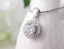 Micro-inlay 2 Ct Cubic Zirconia 925 Sterling Silver Simulation Pendant Necklace