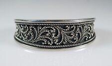 Sterling Silver 925 Artisan Ornate Beaded Scroll Cuff Bracelet
