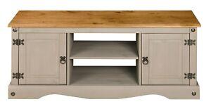 Corona Grey Wax 2 Door 1 Shelf Flat Screen TV Media Unit - Solid Mexican Pine