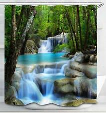 Spa Zen Garden Relaxing Waterfall Art Shower Curtain Waterproof & Rings