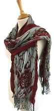 Ladies Warm Winter Scarf Wrap Large Rose Design Red Grey Bouncy Stretch
