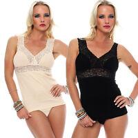Damen Dessous-Top mit Spitze, BH-Hemd von Celesté, 100 % Baumwolle, Unterhemd in