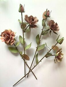 """Metal Stake 19"""" ROSE STEM Garden ROUND TOP Collection Flowers Buds Leaves NWT"""