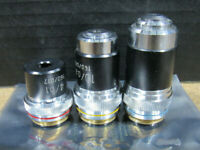 LOT of 3 Parco 10/0.25, 40/0.65 and 4/0.1 160/0.17 Microscope Objectives Only