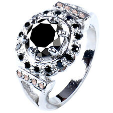 4.28 ct AAA BLACK MOISSANITE & NATURAL DIAMOND SOLITAIRE.925 SILVER RING
