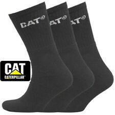 3 & 6 Pairs Caterpillar Crew Ultimate Black Work Sock Cat Socks Size 6-11