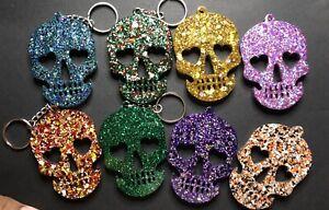 Sugar Skull Glitter Keychains / Handbag Charm Halloween Stocking Stuffer
