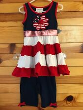 *EMILY ROSE* Girls 2 Piece Patriotic Red White Blue Striped Flower Outfit EUC 4