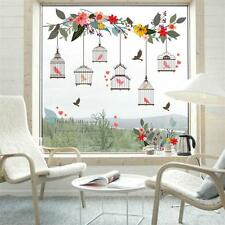 Bird Birdcage Wall Sticker Colorful Flower Living Room 3D Floral Window Decal