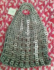 Matta NY Cadena Tote Bag silver pewter leather open weave NWT boho chic $225