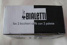 BIALETTI - TAZZINE - CAFFE' - BIANCO & NERO - SET 2 BICCHIERI CAFFE' e 2 PALETTE