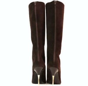 CHARLES DAVID BROWN CHOCOLATE SUEDE LETHER HIGH HEEL KNEE BOOTS SIZE 7 $795 NWT