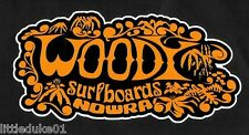 """WOODY SURFBOARDS"" VINTAGE / RETRO Sticker Decal 1960s LONGBOARD SURFER SURF"