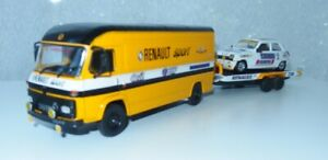 "1:43 Saviem SB2 ""Renault Sport""+ Remorque porte voiture / R5 ""alpine"" (modifiés)"