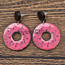 Pink Doughnut Drop Pendant Earrings Ear Studs Women Fashion Jewellery Gift