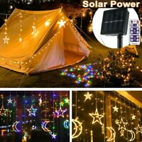 Solar Moon Star Twinkle Led Curtain String Fairy Lights Outdoor Party Xmas Decor
