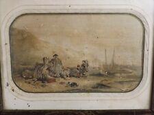 Aquarelle XVIIIe siècle. Marine, Famille de Pêcheur Breton. Bretagne, Bateaux