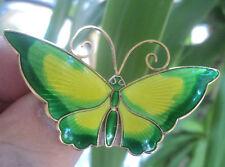 LARGE Norwegian Silver & Enamel Butterfly Brooch - David Andersen Norway