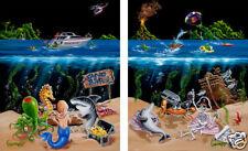 "Michael Godard-""SAND BAR 1 & 2""-Olives-Seahorse-Ocean-Mermaid-Art-Matched Set**"