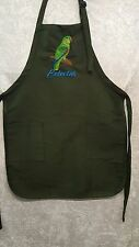 Eclectus Parrot Male, Bird Embroidered on A Hunter Green Apron