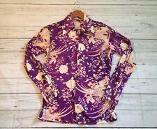 Vintage 70's Men's Purple Floral Disco MOD Groovy Button Up Shirt Sz S 14/14.5