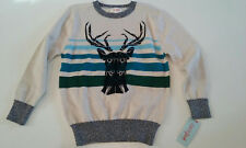 NWT CAT & JACK REINDEER BOYS SWEATER SEASONAL SIZE XS (4/5) OATMEAL $17.99