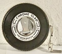 Vintage 50ft Lufkin Rule Co. Chrome Clad Leader Steel Tape Measure With Hook!