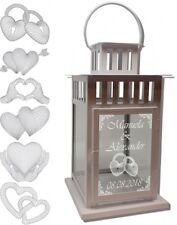 Laterne Metall weiß 28 cm mit Wunschtext Gravur u 3D Herz Motiv Hochzeitslaterne