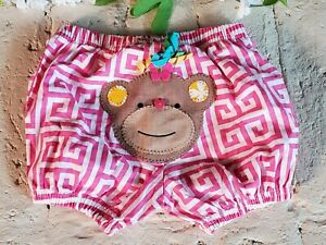 NWOT Mud Pie Diaper Cover Baby Girl Size 0-12 Months Monkey Bloomer
