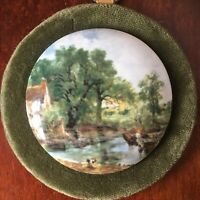 Vintage Ceramic Wall Plaque Mounted On Green Velvet.Handmade.The Haywain.